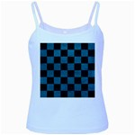 SQUARE1 BLACK MARBLE & TEAL LEATHER Baby Blue Spaghetti Tank