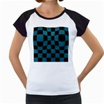 SQUARE1 BLACK MARBLE & TEAL LEATHER Women s Cap Sleeve T