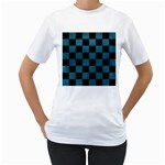 SQUARE1 BLACK MARBLE & TEAL LEATHER Women s T-Shirt (White) (Two Sided)