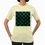 SQUARE1 BLACK MARBLE & TEAL LEATHER Women s Yellow T-Shirt