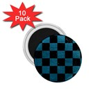 SQUARE1 BLACK MARBLE & TEAL LEATHER 1.75  Magnets (10 pack)