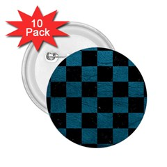 Square1 Black Marble & Teal Leather 2 25  Buttons (10 Pack)  by trendistuff
