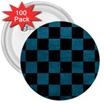 SQUARE1 BLACK MARBLE & TEAL LEATHER 3  Buttons (100 pack)