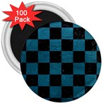 SQUARE1 BLACK MARBLE & TEAL LEATHER 3  Magnets (100 pack)