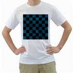 SQUARE1 BLACK MARBLE & TEAL LEATHER Men s T-Shirt (White) (Two Sided)