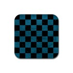 SQUARE1 BLACK MARBLE & TEAL LEATHER Rubber Coaster (Square)