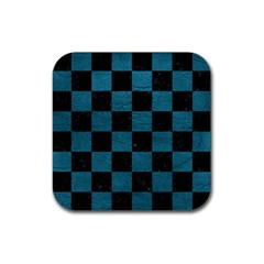 SQUARE1 BLACK MARBLE & TEAL LEATHER Rubber Square Coaster (4 pack)