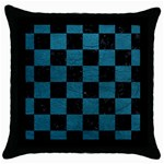 SQUARE1 BLACK MARBLE & TEAL LEATHER Throw Pillow Case (Black)