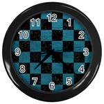 SQUARE1 BLACK MARBLE & TEAL LEATHER Wall Clocks (Black)