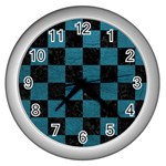 SQUARE1 BLACK MARBLE & TEAL LEATHER Wall Clocks (Silver)