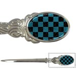 SQUARE1 BLACK MARBLE & TEAL LEATHER Letter Openers
