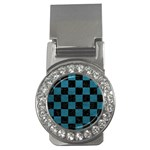 SQUARE1 BLACK MARBLE & TEAL LEATHER Money Clips (CZ)