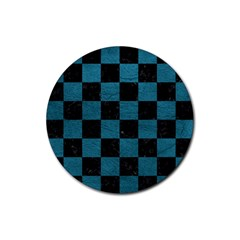 SQUARE1 BLACK MARBLE & TEAL LEATHER Rubber Coaster (Round)