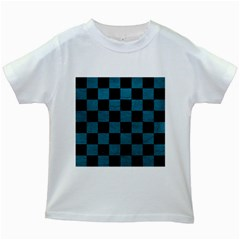 SQUARE1 BLACK MARBLE & TEAL LEATHER Kids White T-Shirts