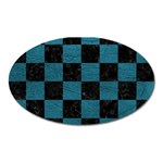 SQUARE1 BLACK MARBLE & TEAL LEATHER Oval Magnet
