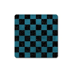 SQUARE1 BLACK MARBLE & TEAL LEATHER Square Magnet