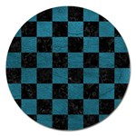 SQUARE1 BLACK MARBLE & TEAL LEATHER Magnet 5  (Round)