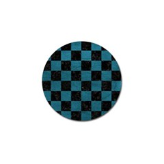 SQUARE1 BLACK MARBLE & TEAL LEATHER Golf Ball Marker (4 pack)