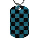 SQUARE1 BLACK MARBLE & TEAL LEATHER Dog Tag (Two Sides)