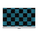 SQUARE1 BLACK MARBLE & TEAL LEATHER Business Card Holders