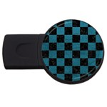 SQUARE1 BLACK MARBLE & TEAL LEATHER USB Flash Drive Round (2 GB)