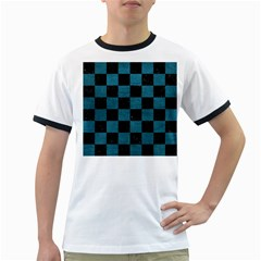 SQUARE1 BLACK MARBLE & TEAL LEATHER Ringer T-Shirts