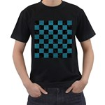 SQUARE1 BLACK MARBLE & TEAL LEATHER Men s T-Shirt (Black) (Two Sided)