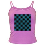 SQUARE1 BLACK MARBLE & TEAL LEATHER Dark Spaghetti Tank