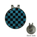 SQUARE1 BLACK MARBLE & TEAL LEATHER Hat Clips with Golf Markers