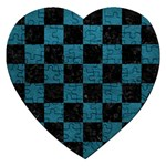 SQUARE1 BLACK MARBLE & TEAL LEATHER Jigsaw Puzzle (Heart)