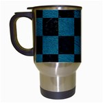SQUARE1 BLACK MARBLE & TEAL LEATHER Travel Mugs (White)