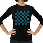 SQUARE1 BLACK MARBLE & TEAL LEATHER Women s Long Sleeve Dark T-Shirts