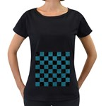 SQUARE1 BLACK MARBLE & TEAL LEATHER Women s Loose-Fit T-Shirt (Black)
