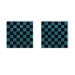 SQUARE1 BLACK MARBLE & TEAL LEATHER Cufflinks (Square)