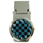 SQUARE1 BLACK MARBLE & TEAL LEATHER Money Clip Watches