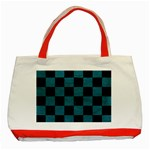 SQUARE1 BLACK MARBLE & TEAL LEATHER Classic Tote Bag (Red)