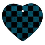 SQUARE1 BLACK MARBLE & TEAL LEATHER Heart Ornament (Two Sides)