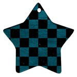 SQUARE1 BLACK MARBLE & TEAL LEATHER Star Ornament (Two Sides)