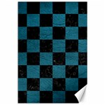 SQUARE1 BLACK MARBLE & TEAL LEATHER Canvas 12  x 18