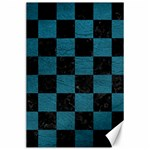 SQUARE1 BLACK MARBLE & TEAL LEATHER Canvas 24  x 36