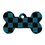 SQUARE1 BLACK MARBLE & TEAL LEATHER Dog Tag Bone (Two Sides)