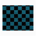SQUARE1 BLACK MARBLE & TEAL LEATHER Small Glasses Cloth (2-Side)