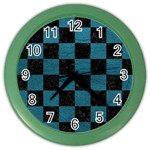 SQUARE1 BLACK MARBLE & TEAL LEATHER Color Wall Clocks