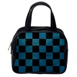 SQUARE1 BLACK MARBLE & TEAL LEATHER Classic Handbags (One Side)
