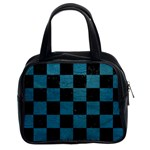 SQUARE1 BLACK MARBLE & TEAL LEATHER Classic Handbags (2 Sides)