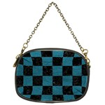 SQUARE1 BLACK MARBLE & TEAL LEATHER Chain Purses (One Side)