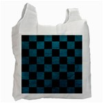 SQUARE1 BLACK MARBLE & TEAL LEATHER Recycle Bag (Two Side)