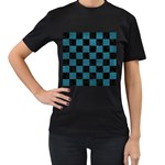 SQUARE1 BLACK MARBLE & TEAL LEATHER Women s T-Shirt (Black)