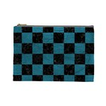 SQUARE1 BLACK MARBLE & TEAL LEATHER Cosmetic Bag (Large)