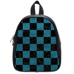 SQUARE1 BLACK MARBLE & TEAL LEATHER School Bag (Small)